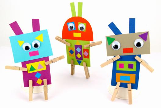 Robots rigolos en papier - Personnages rigolos - 10doigts.fr