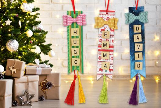 Suspension de Noël avec prénom - Décoration du sapin - 10doigts.fr