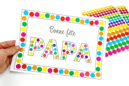 Tableau gommettes - Bonne fête papa - Tutos Fête des Pères - 10doigts.fr