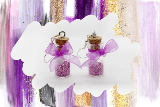 Boucles d'oreilles bouteilles violettes - Tutos Fête des Mères - 10doigts.fr