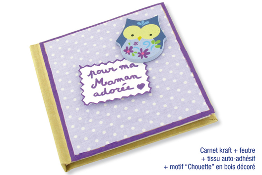 Carnet en carton déco tissu et chouette - Décoration d'objets - 10doigts.fr