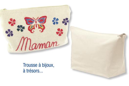 Pochette à bijoux en coton naturel avec fermeture zippée - Tutos Fête des Mères - 10doigts.fr