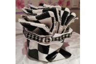 Lingettes visage tissu noir et blanc et panier support assorti - Couture, point de croix... - 10doigts.fr