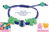 Shamballa avec perles bayadères et perles animaux - Bijoux Shamballas - 10doigts.fr