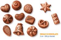 Moule chocolats - 12 motifs - Moules gourmandises - 10doigts.fr