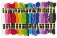 Echevettes de fils coton - 20 bobines couleurs vives - Fils - 10doigts.fr