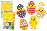 Gommettes poussins de Pâques - 14 Poussins à créer - Kits activités Pâques - 10doigts.fr