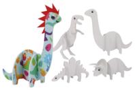 Dinosaures 3D en carton mousse à décorer - Set de 4 - Support blanc - 10doigts.fr