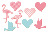 Motifs romantiques rose et bleu en bois décoré - Set de 8 - Motifs peints - 10doigts.fr