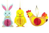 Suspensions de Pâques - Lapin, poussin et poule - Kits activités Pâques - 10doigts.fr