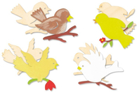 Oiseaux en bois naturel assortis - Set de 8 - Motifs bruts - 10doigts.fr