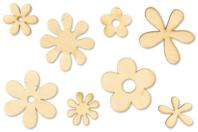 Fleurs en bois naturel - Set de 8 - Motifs brut - 10doigts.fr