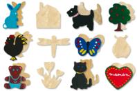 Motifs assortis en bois naturel - Set de 12 - Motifs brut - 10doigts.fr