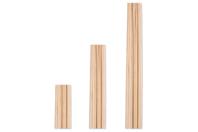 Tiges rondes en bois - Lot de 25 - Bâtonnets, tiges, languettes - 10doigts.fr