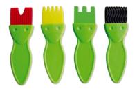 Brosses en caoutchouc - Set de 4 formes - Brosses - 10doigts.fr