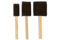 Pinceaux mousse avec manche en bois - Set de 3 - Pinceaux - 10doigts.fr