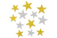Etoiles adhésives caoutchouc mousse pailleté - 72 stickers - Gommettes et stickers Noël - 10doigts.fr