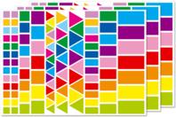 Gommettes géométriques, couleurs vives - 3 planches - Gommettes Carrées - 10doigts.fr