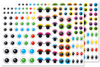 Gommettes yeux multicolores - 240 yeux - Gommettes Yeux et Visages - 10doigts.fr
