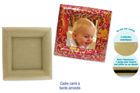 Cadre carré en carton papier mâché, avec bords arrondis - Cadres en carton - 10doigts.fr