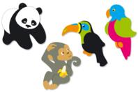 Animaux de la jungle en bois décoré - Set de 8 - Motifs peints - 10doigts.fr