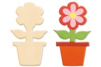 Pot de fleur en bois naturel - Motifs bruts - 10doigts.fr