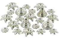 Décors en plastique métallisé argenté - 40 décors - Perles intercalaires & charm's - 10doigts.fr