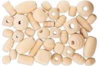 Perles formes assorties en bois naturel - 110 perles - Perles en bois - 10doigts.fr
