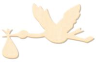Cigogne en bois naturel - Motifs bruts - 10doigts.fr