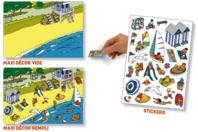 Stickers scène de vie La plage - Gommettes stickers + maxi décor - 10doigts.fr