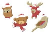 Animaux de Noël chapeautés en bois décoré - Set de 8 - Motifs peints - 10doigts.fr