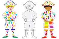 Grands Arlequins à colorier - 6 arlequins - Mardi gras, carnaval - 10doigts.fr