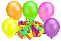 Ballons ronds, couleurs fluos - 100 ballons - Ballons, guirlandes, serpentins - 10doigts.fr