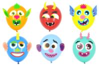 Kit 8 ballons visages rigolos à décorer - Ballons, guirlandes, serpentins - 10doigts.fr