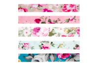 Biais coton Roses - Set de 5 - Rubans et cordons - 10doigts.fr