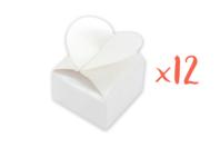 Boîtes à dragées cœur à monter - Lot de 12 - Boites cadeaux - 10doigts.fr