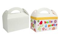 Boîtes à goûter en carton blanc ou kraft - Lot de 6 - Boîtes en carton - 10doigts.fr