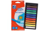 Pastels tendres aquarellables - 12 couleurs - Pastels et Fusains - 10doigts.fr