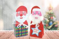 Boîte Père Noël en carte forte blanche - Supports pré-dessinés - 10doigts.fr