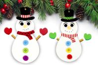 Suspensions bonhommes de neige lumineux - Lot de 4 - Kits activités Noël - 10doigts.fr