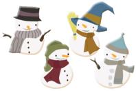 Bonhommes de neige en bois décoré - Set de 8 - Motifs peints - 10doigts.fr