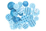 Boutons à motifs camaïeu turquoise - Set de 28 - Boutons - 10doigts.fr