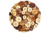 Boutons ronds en bois naturel verni - Set de 300 - Boutons - 10doigts.fr