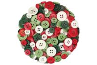 Boutons ronds en plastique couleurs Noël - Set de 300 - Boutons - 10doigts.fr