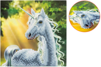 Broderie diamant Licorne - Carte 18 x 18 cm - Broderie Diamant - 10doigts.fr