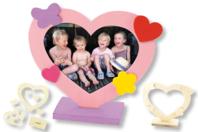 Cadre coeur + mini formes en bois - Cadres photos - 10doigts.fr