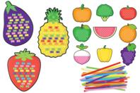 Cartes à tisser fruits et légumes - Set de 12 - Kits activités d'apprentissage - 10doigts.fr