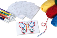 Set de 7 cartes à broder et à colorier, motifs assortis - Supports à broder - 10doigts.fr