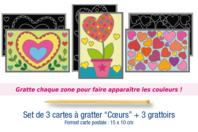 """Cartes à gratter """"Coeurs""""  3 cartes - Carte à gratter - 10doigts.fr"""