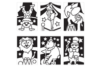 Cartes à métalliser Cirque - 6 cartes assorties - Kits créatifs en Papier - 10doigts.fr